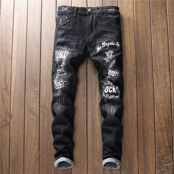 Designer 2018 Mens Jeans Embroidery Men's Fashion Trousers Biker Distressed Track Jean Casual Skinny Hip Hop Ripped Black Pants