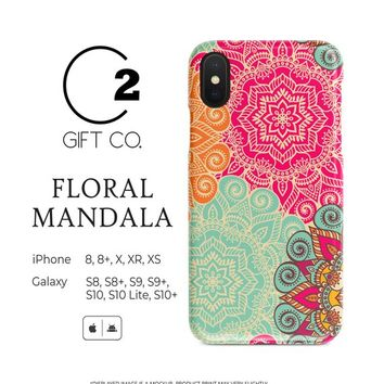 Floral Mandala - Heavy Duty Shock Absorption Phone Case For Iphone & Samsung Galaxy - Asian Mystical Ethnic Arabic Indian Henna Tribal Motif