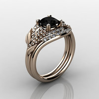 Nature Inspired 18K Rose Gold 1.0 CT Black Diamond Grape, Vine and Leaf Engagement Ring Set NN118SS-18KRGDBD