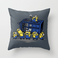 The Minions Have The Phone Box Throw Pillow by Onebluebird