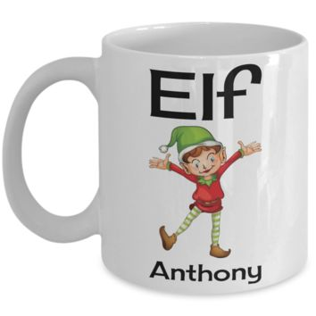 Holiday Christmas Elf Morning Mug - X-Mas Cup for Boys & Girls - Personalized First Name Kid Cocoa, Milk, Cookies, Candy Cane Cup - Personalization Gift & Stocking Stuffer For Kids