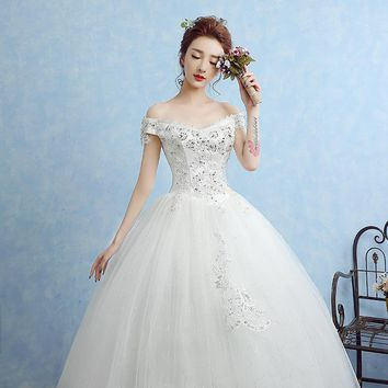 Free Shipping Plus size Boat Neck Bling Lace Wedding Dresses White Cheap Bride Frocks Trailing Gowns Vestidos De Novia XN037