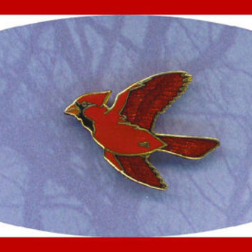 Vintage WmSpear Male Red Cardinal Bird Pin Brooch Glass Enamel Signed Gold