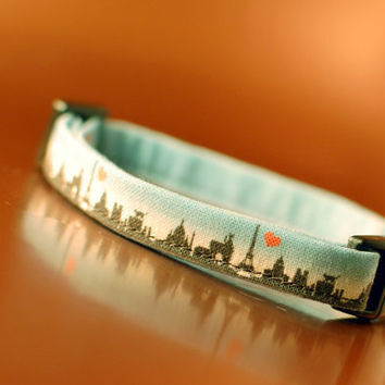 Paris Skyline Cat Collar by PoppySeedCats on Etsy
