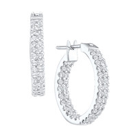 Round Diamond Ladies Fashion Earrings in 10k Rose Gold 1 ctw