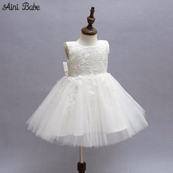 Newborn Baby Girl Dress Clothes Princess Infant Lace Christening Gown Big Bow Tutu Tulle Birthday Dresses For Baby Girls 0-2Yrs