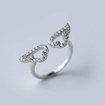 Simple Angel's wings 925 sterling silver zircon ring, a perfect gift