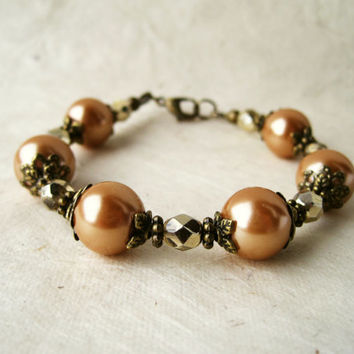 Caramel Pearl Bracelet. Rustic Bronze and Peach Victorian Bridesmaid Bracelet. Vintage Style Shabby Chic  Wedding Jewelry.