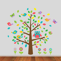 Childrens Wall Decal Tree with Birds - Simple Modern Classic Tree - Children's Bedroom Nursery Vinyl Wall Art Sticker -CT104B - G