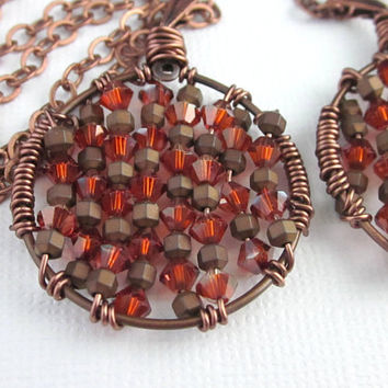 Copper And Dark Orange Swarovski Crystal Pendant, Wire Wrapped Round Copper Pendant, Orange And Copper Pendant, Round Crystal Pendant