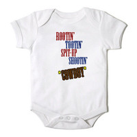 Rootin Tootin Spit up Shootin Cowboy Baby Baby Bodysuit Baby Girl or Boy Baby Bodysuit