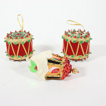 Vintage Bead Pin and Sequin Christmas Ornaments