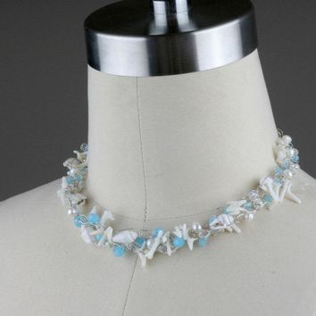 Chunky crochet wiring shell pearl teal choker necklace Bridesmaids gifts Free US Shipping handmade Anni Designs