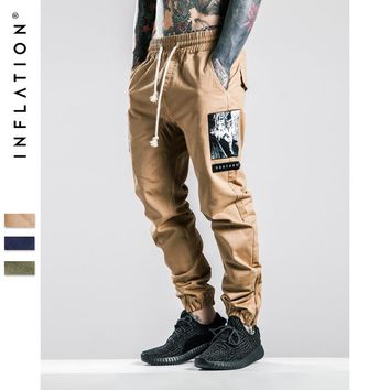 HCXX INFLATION Men Joggers Pants Denim Overalls Men Ankle-Tied New Biker Homme Ink-jet Prinitng Men Jopgger Pants