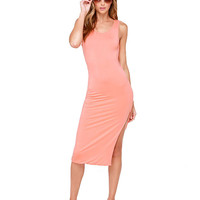 Light Pink Sleeveless Bodycon Dress with Twisted V-Back Cut-Out
