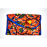 Yellowish Orange And Blue African  Print Clutch