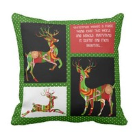 Holiday Pillow, Xmas Candy Reindeer on Green Throw Pillow