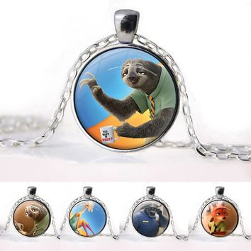 Zootopia Fox Cartoon Jewelry rabbit Judy Nick Police chief Glasses Pendant Necklace Women Girls Sweater Chain Gift For Kids