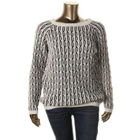 Karen Kane Womens Cable Knit Two-Tone Pullover Sweater