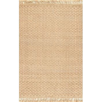 nuLoom Hand Woven Holly Tassel Jute Area Rug