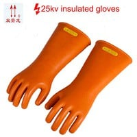 Insulated gloves genuine protection 25KV -20kv power value industrial rubber gloves electric shock resistance insulation  glove