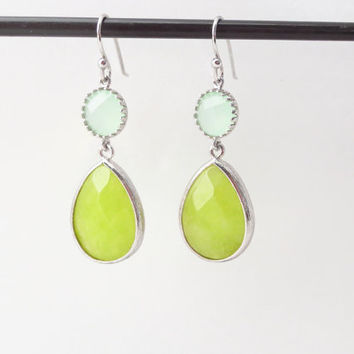 Green, Lime, Apple, Color, Dangle, Drop, Silver, Earrings, Lovely, Dangle, Earrings, Lovers, Best friends, Mom, Sister, Gift, Jewelry