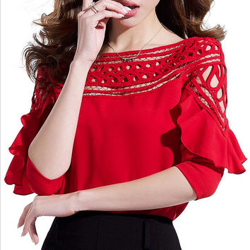 Top Fashion Big Yard Solid Sexy Temperament Round Collar Ruffles Hollow Out Chiffon Butterfly Sleeve Women's Shirts