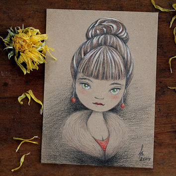 Original ACEO, Artist Trading Card, Pencil Drawing, Fine Art by Barbara Szepesi Szucs