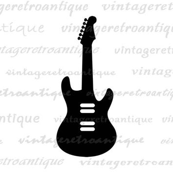 Electric Guitar Printable Graphic Download Music Icon Digital Image Vintage Clip Art Jpg Png Eps  HQ 300dpi No.4331