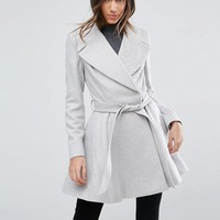 ASOS Skater Coat with Self Belt and Oversized Collar at asos.com