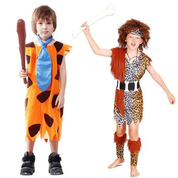 2017 New Personality Savage Primitive Indian Wild Man Cosplay Costume For Children Kids Halloween Carnival Dance Party Supplies