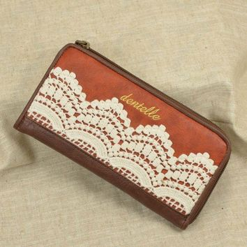 Elegant Retro Lace With Crochet Leather Wallet