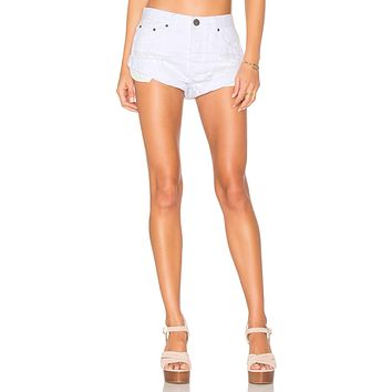 One Teaspoon Bandits Denim Shorts in White Beauty