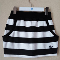 Adidas Originals Black and White Stripes Short Skirt