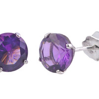 Amethyst Earrings February Birthstone Studs .925 Silver Round CZ BASKET SET