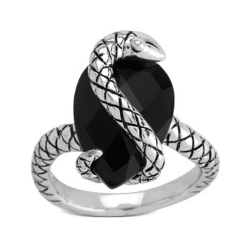 Pear-Shaped Onyx Snake Wrap Ring in Sterling Silver