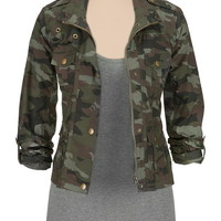 Rolled sleeve camo jacket