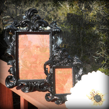 "Gloss Black Home Decor-Matching Frames 12"" and 7""-Formal Reception,Goth Home,Paris Black,5x7Frame,Wedding Supplies,Shabby Black,Victorian"