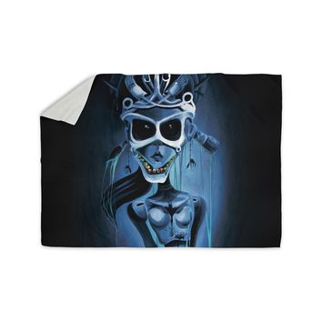 "Ivan joh ""Tattoo Girl"" Black Blue Pop Art Fantasy Illustration Painting Sherpa Blanket"