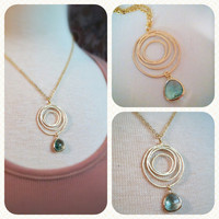 Gold Textured Hoop Necklace by labellemoon on Etsy