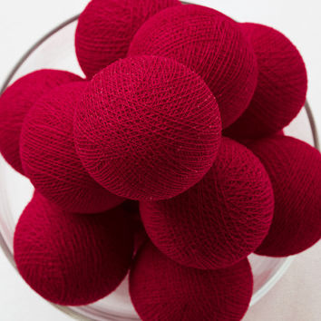 Red 20 Handmade Cotton Ball Patio Party String Lights – Fairy, Wedding, Holiday, Home Décor