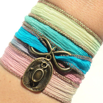 Boho Wrap Bracelet, Silk Wrap, Hippie Jewelry, Cowgirl Bracelet, Hippie Gifts, Sweet 16 Bracelet, Christmas GIFT, Stocking Stuffer Gift