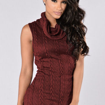 Maroon Cowl Neck Woolen Sleeveless Top