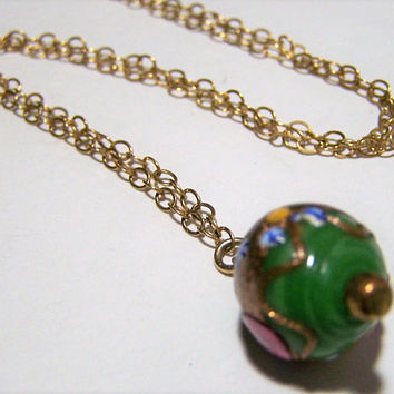 Venetian Green Wedding Cake Bead Pendant, Gold Filled Necklace. Murano Italy Art Glass Bead, Mid Century Jewelry 1217