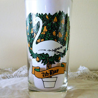 Indiana Glass Company 12 Days of Christmas Replacement Glass, American Glass 7 Swans a Swimming, 12 Days of Christmas 7th Day Tumbler