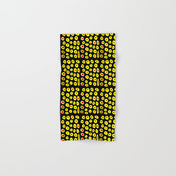 red and yellow polka dot- polka,polka dot,dot,pattern,circle,disc, point,abstract, minimalism Hand & Bath Towel by oldking