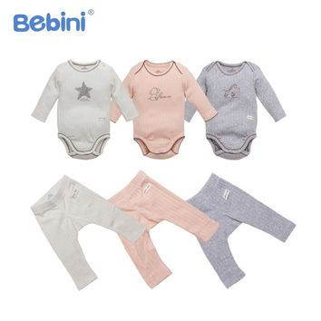 Organic Cotton Infant Baby Clothing Set Soft Infant Baby Romper + Pants Clothes Baby Suit Unisex Newborn Boys Girls Pajamas