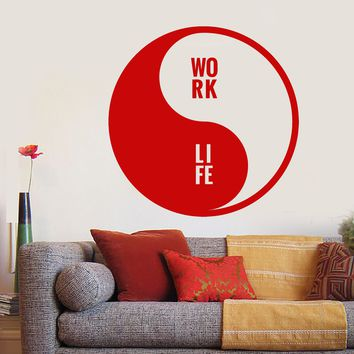 Vinyl Wall Decal Yin Yang Symbol Buddhism Words Work Life Stickers Unique Gift (1779ig)