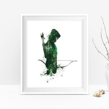 Green Arrow Art Print, Watercolor Print, DC Comics, Green Arrow Poster, Superhero, Painting, Children's Birthday Gift, Kids Decor, Wall Art