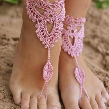 Crochet Ivory Barefoot Sandals Nude shoes, Foot jewelry, Wedding, Victorian Lace, Sexy